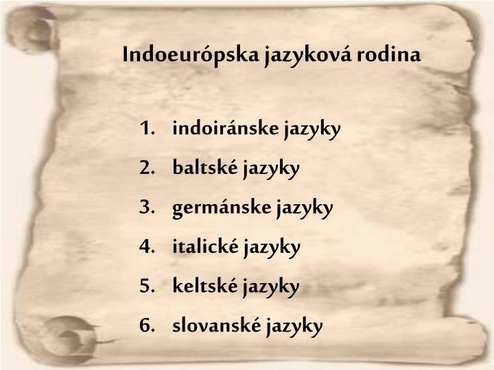 Indoeurópska jazyková rodina