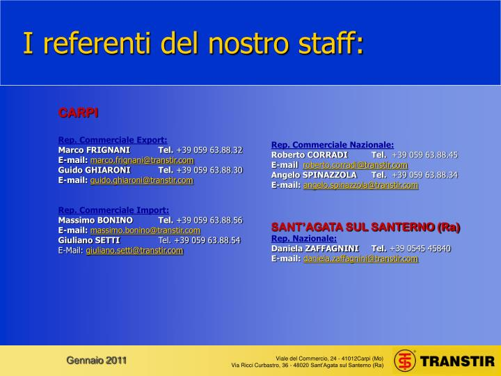 I referenti del nostro staff:
