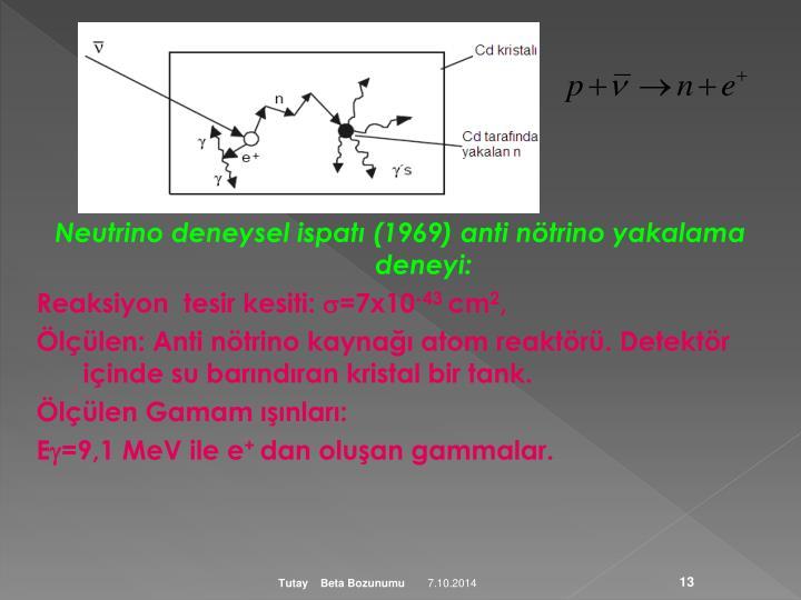 Neutrino deneysel ispatı (1969) anti nötrino yakalama deneyi: