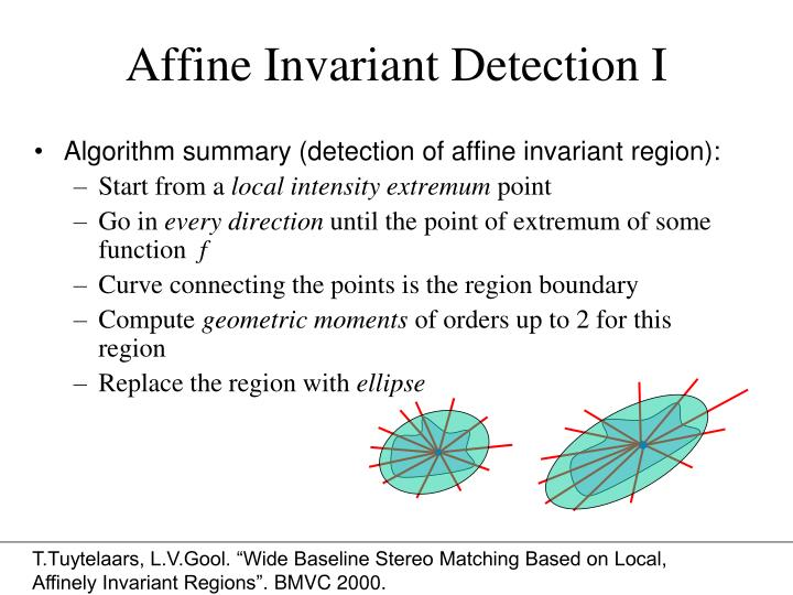 Affine Invariant Detection I