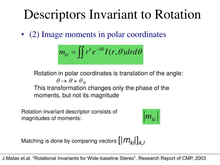 Rotation invariant descriptor consists of magnitudes of moments: