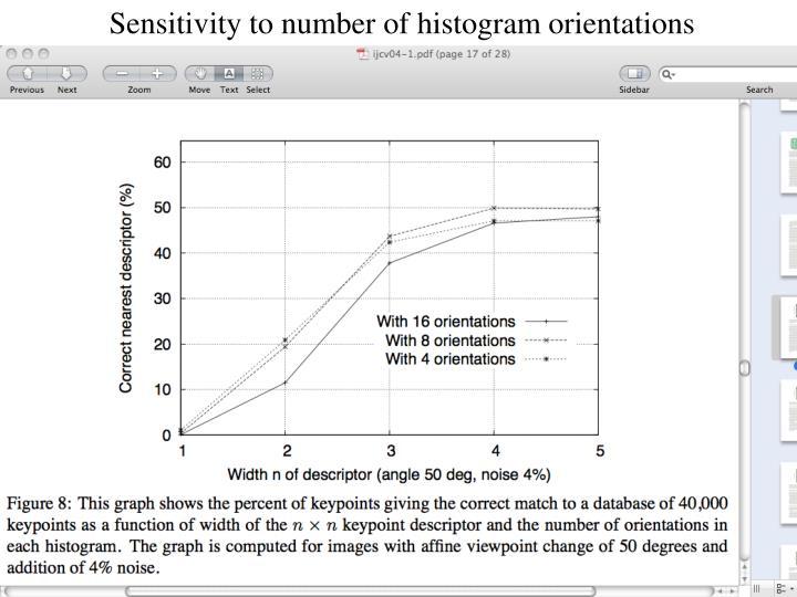 Sensitivity to number of histogram orientations