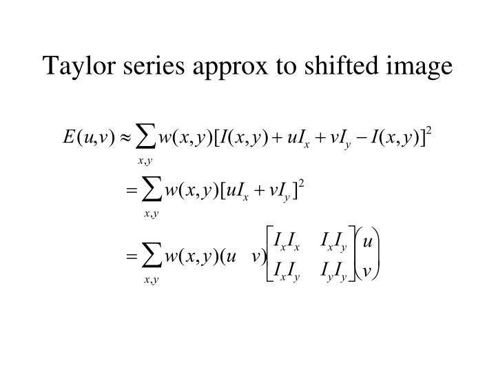 Taylor series approx to shifted image