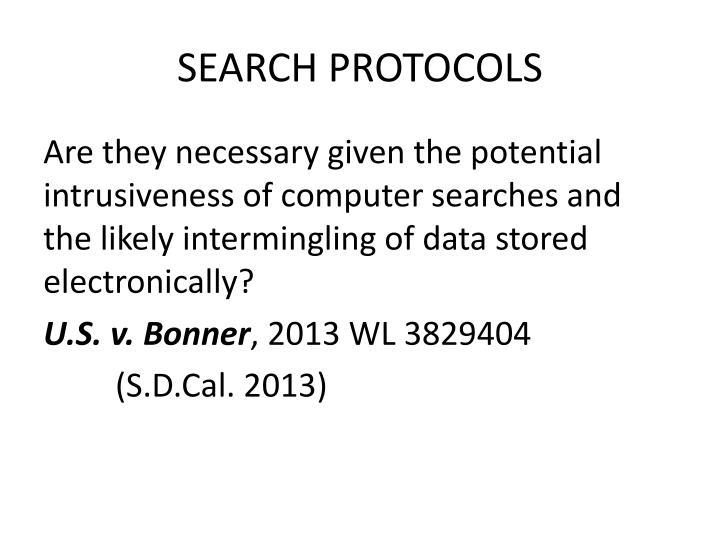 SEARCH PROTOCOLS