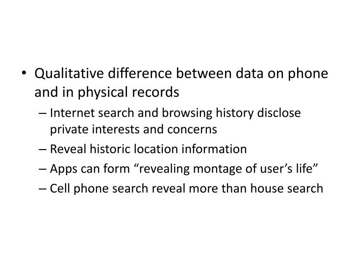 Qualitative difference between data on phone and in physical records