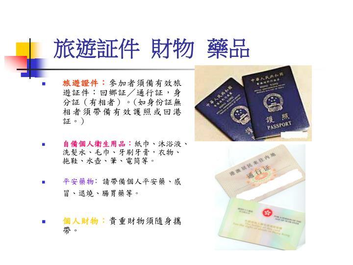 旅遊証件  財