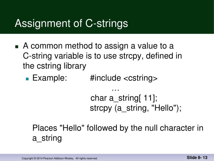Assignment of C-strings