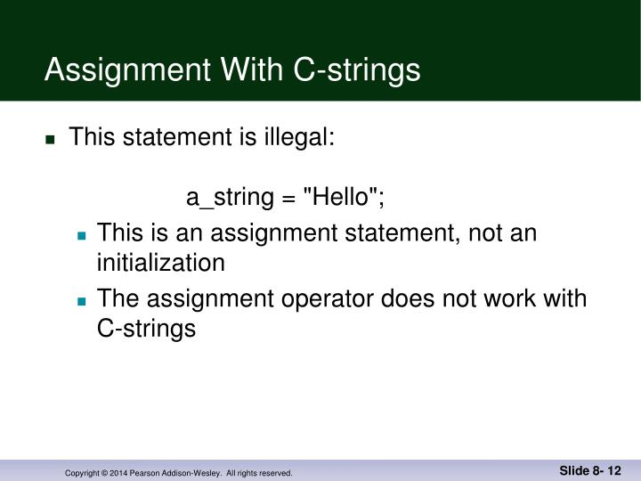 Assignment With C-strings