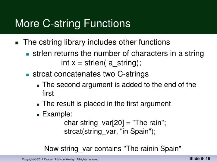 More C-string Functions