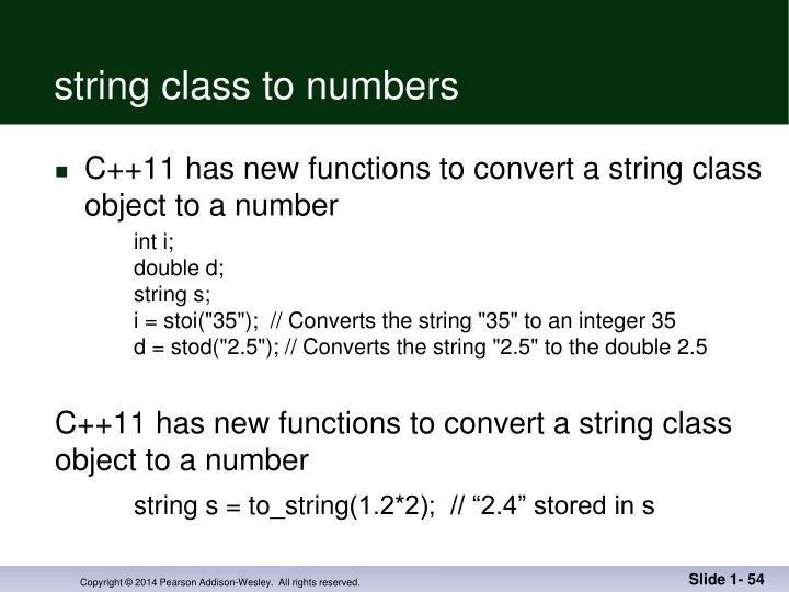 string class to numbers