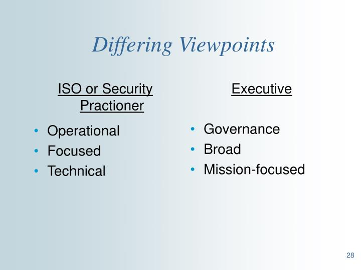 ISO or Security Practioner