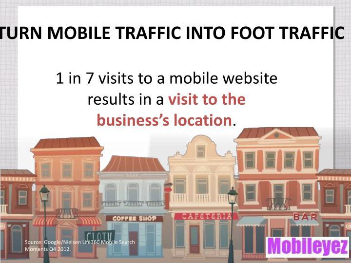 TURN MOBILE TRAFFIC INTO FOOT TRAFFIC