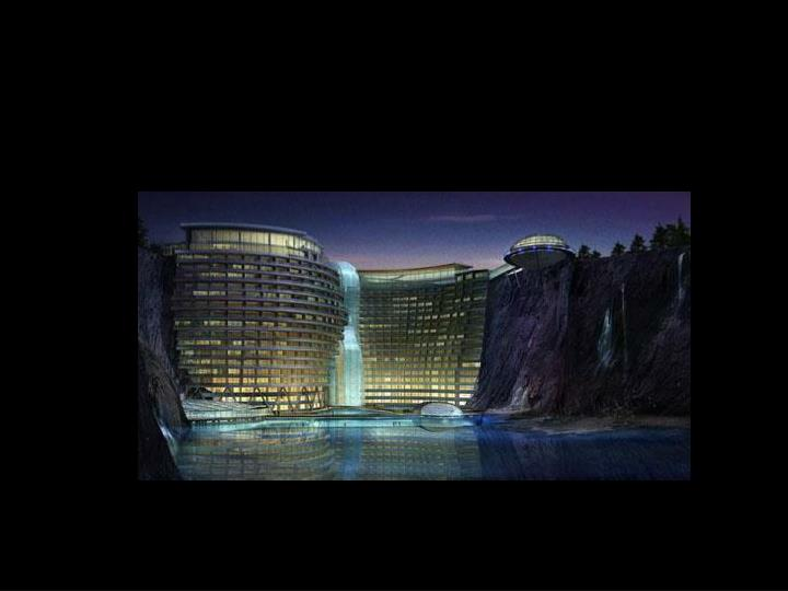 Hotel de 400 chambres construit dans une carrière en Chine