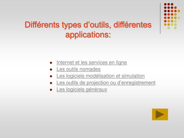 Différents types d'outils, différentes applications: