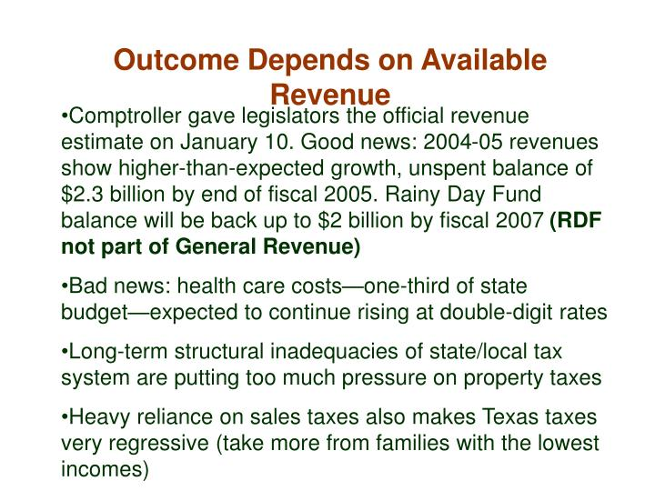 Outcome Depends on Available Revenue