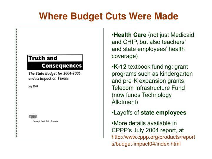 Where Budget Cuts Were Made