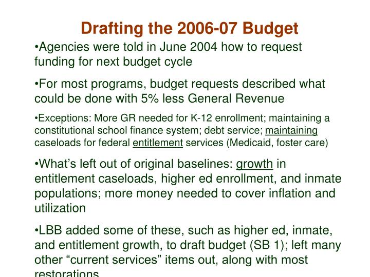 Drafting the 2006-07 Budget