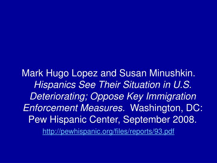 Mark Hugo Lopez and Susan Minushkin.