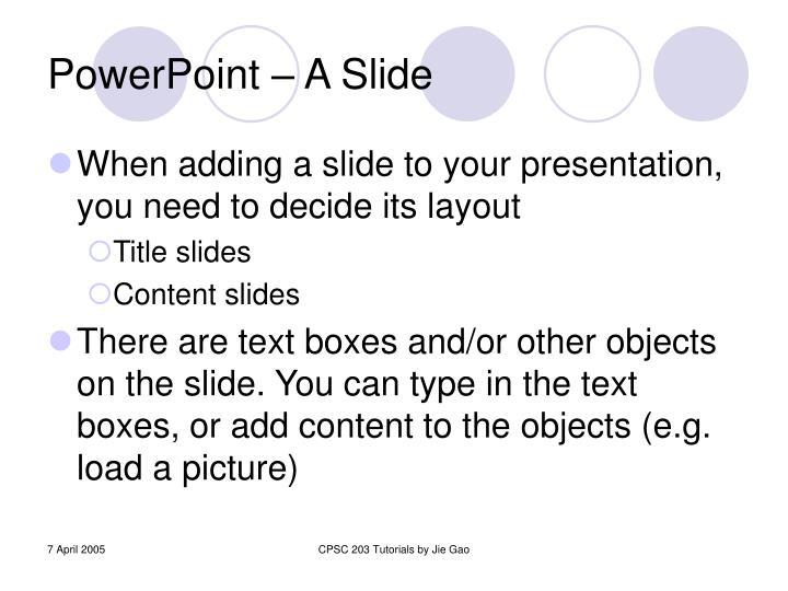 PowerPoint – A Slide