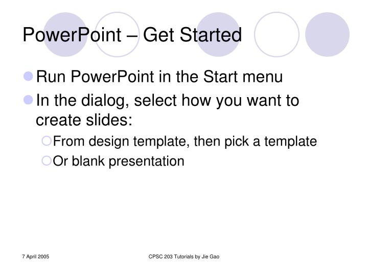 Powerpoint get started