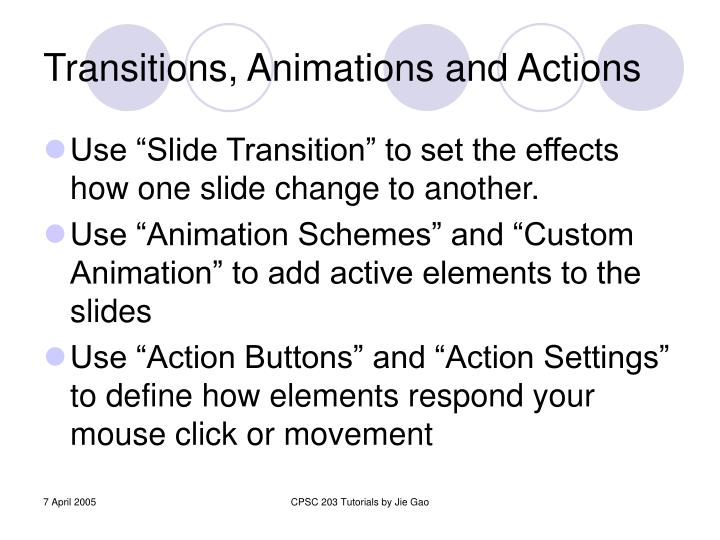 Transitions, Animations and Actions