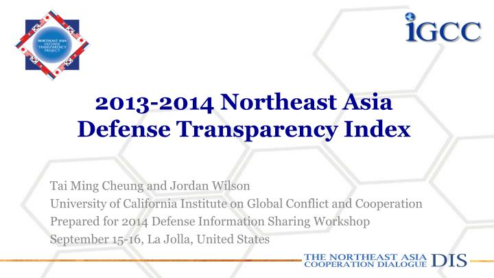 2013 2014 northeast asia defense transparency index