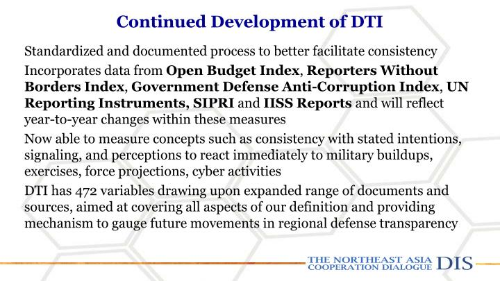 Continued Development of DTI