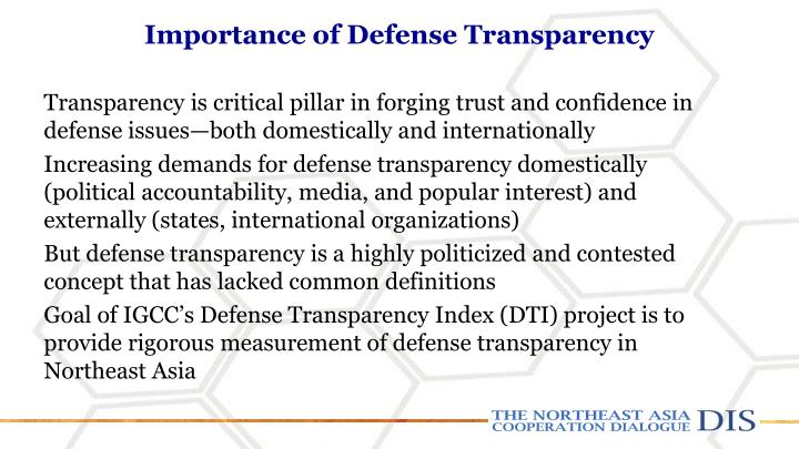 Importance of defense t ransparency