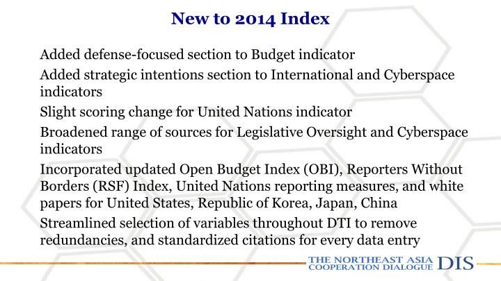 New to 2014 Index