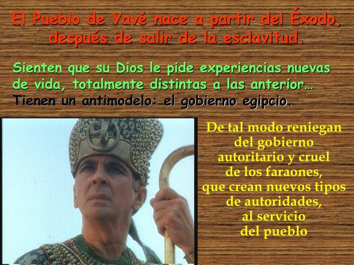 El Pueblo de Yavé nace a partir del Éxodo,