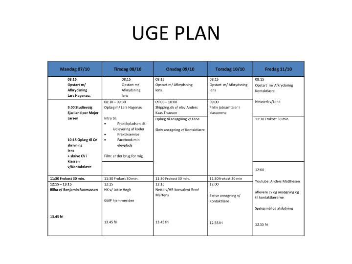 Uge plan
