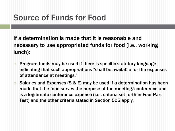 Source of Funds for Food