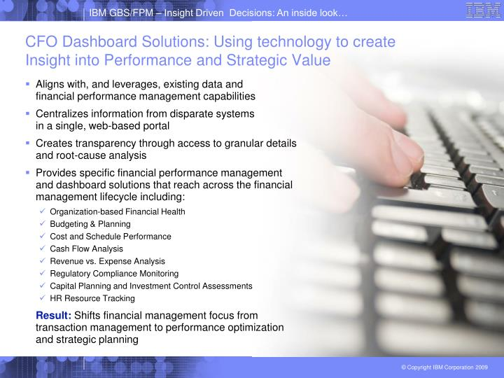 CFO Dashboard Solutions: Using technology to create