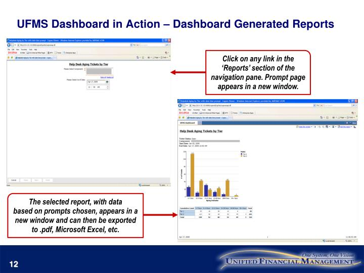 UFMS Dashboard in Action – Dashboard Generated Reports