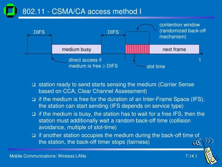 802.11 - CSMA/CA access method I