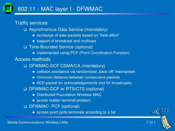 802.11 - MAC layer I - DFWMAC