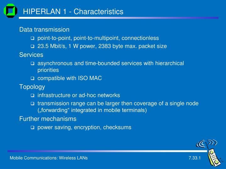 HIPERLAN 1 - Characteristics