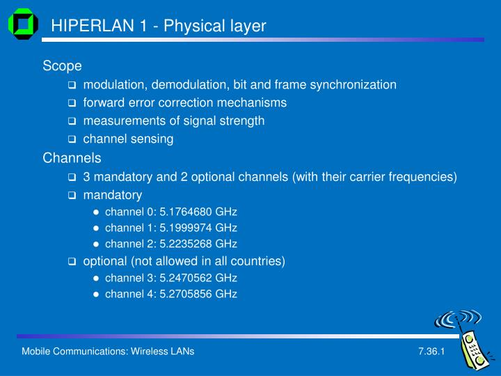 HIPERLAN 1 - Physical layer