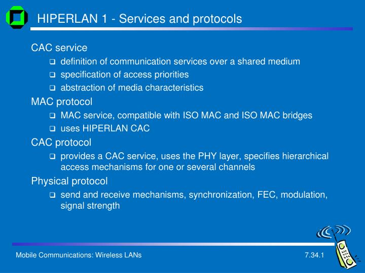 HIPERLAN 1 - Services and protocols