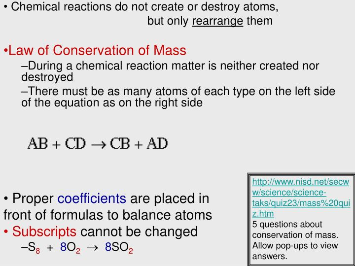 Chemical reactions do not create or destroy atoms,