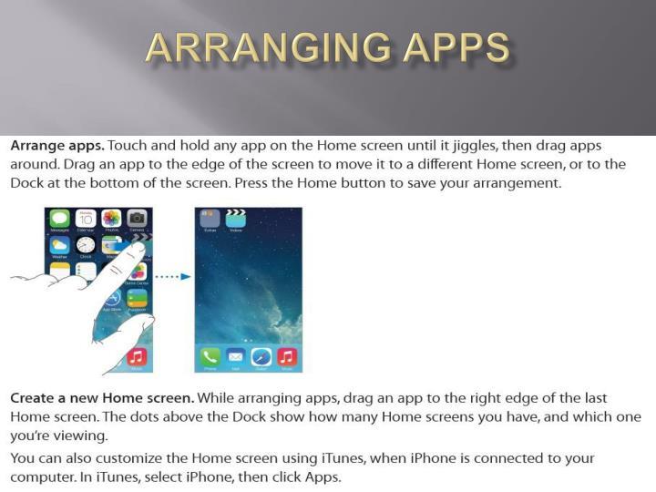Arranging apps