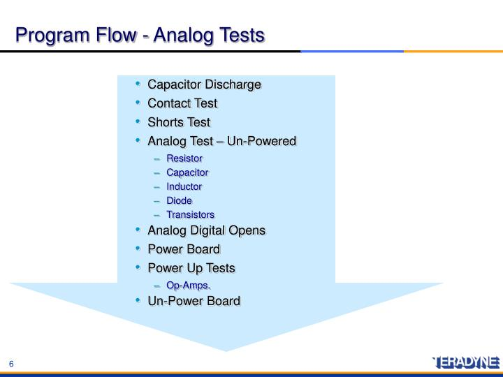 Program Flow - Analog Tests