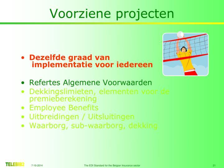 Voorziene projecten