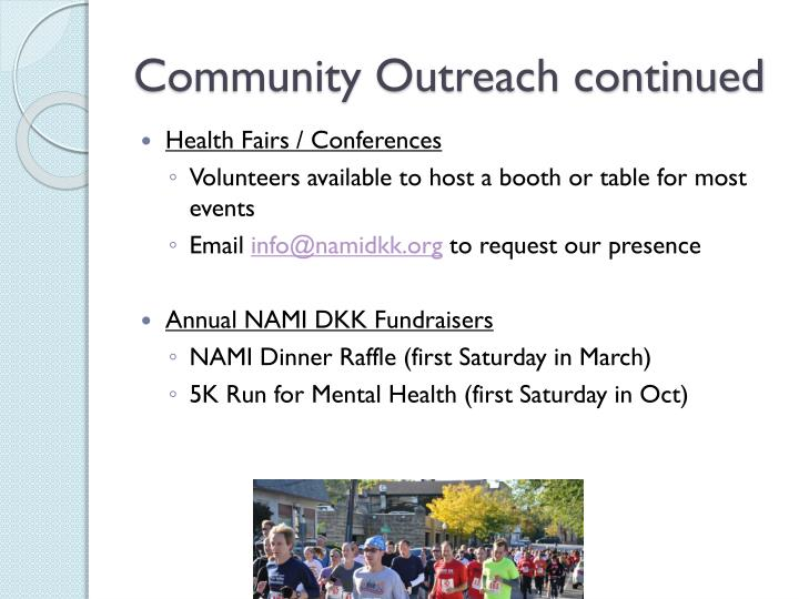 Community Outreach continued