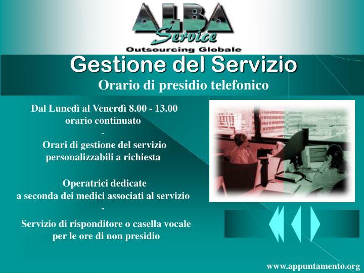Gestione del Servizio