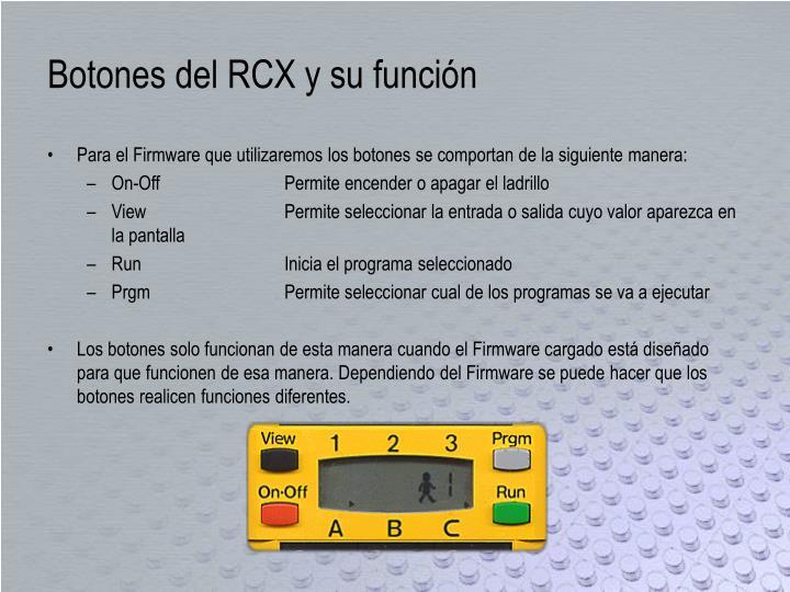 Botones del RCX y su función