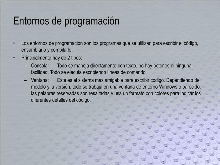Entornos de programaci n