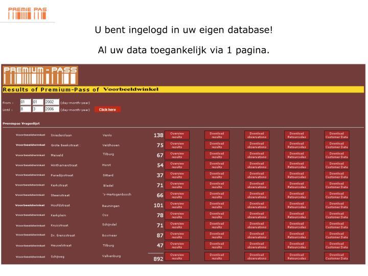 U bent ingelogd in uw eigen database!