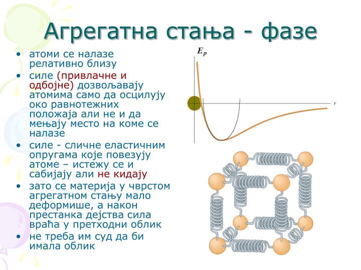 атоми се налазе релативно близу