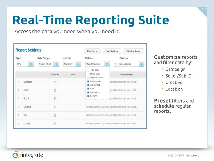 Real-Time Reporting Suite